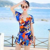 one piece  Wallert Skirt one piece With chest pad without steel support Spandex polyester others Spring 2020 female Short sleeve Casual swimsuit