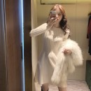 Dress Winter 2020 S,M,L Short skirt singleton  Long sleeves commute Crew neck High waist Solid color Socket Princess Dress routine Others 18-24 years old Type A Korean version Bow tie knitting other