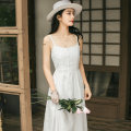 Dress Summer 2020 White, black S,M,L Mid length dress singleton  Sleeveless Sweet One word collar High waist Solid color Single breasted A-line skirt routine camisole 18-24 years old Type A Other / other Pleating More than 95% brocade cotton Mori