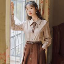 Fashion suit Autumn 2020 S,M,L Apricot [shirt], white [shirt], khaki [shirt], coffee [skirt], apricot [skirt], black [skirt], coffee [suit], apricot [suit], black [suit] 18-25 years old 31% (inclusive) - 50% (inclusive) cotton