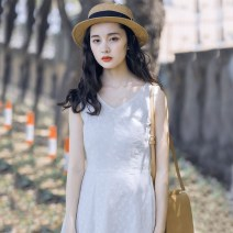 Dress Summer 2020 Off white S. M, l, [focus on store priority delivery] Middle-skirt singleton  Sleeveless Sweet V-neck middle-waisted Solid color Socket A-line skirt routine straps 18-24 years old Type A Other / other Embroidery, lace up More than 95% brocade cotton Mori