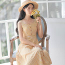 Dress Summer of 2019 Red, yellow S,M,L,XL Mid length dress singleton  Sleeveless Sweet One word collar High waist lattice Socket A-line skirt other Others 18-24 years old Type A Other / other Splicing 71% (inclusive) - 80% (inclusive) brocade nylon Mori