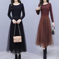 Dress Autumn of 2019 S M L XL Mid length dress singleton  Long sleeves commute Crew neck High waist Solid color Socket A-line skirt routine Others 25-29 years old Type A Ciaso Korean version Splicing mesh More than 95% other other Other 100% Same model in shopping mall (sold online and offline)