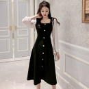 Dress Spring 2021 black S M L XL 2XL Mid length dress singleton  Long sleeves Sweet square neck High waist Solid color Socket A-line skirt routine Others 25-29 years old Type A Ciaso Stitching buttons X21A009 More than 95% other Other 100%