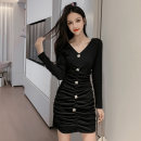 Dress Autumn 2020 black S M L XL Short skirt singleton  Long sleeves commute V-neck middle-waisted Solid color other other routine Others 25-29 years old Ciaso Korean version Button zipper X20C1459 More than 95% other other Other 100% Same model in shopping mall (sold online and offline)