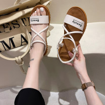 Sandals 35 36 37 38 39 40 Black green Beige PU Good Bashi Barefoot Flat bottom Low heel (1-3cm) Summer 2021 Flat buckle Korean version Solid color Adhesive shoes Youth (18-40 years old) rubber daily Back space Roman style Low Gang Lateral space PU PU 351651654161+210404 Fashion sandals