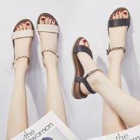 Sandals three hundred and fifty-three billion six hundred and thirty-seven million three hundred and eighty-three thousand nine hundred and forty BEIGE BLACK Graceful PU Barefoot Slope heel Middle heel (3-5cm) Summer of 2018 Flat buckle Korean version Solid color Adhesive shoes rubber daily Low Gang