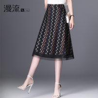 skirt Summer 2021 27/M 28/L 29/XL 30/2XL 31/3XL 32/4XL Decor Mid length dress commute High waist A-line skirt Decor Type A ML21D396 other Overflow Mesh zipper stitching printing Korean version Pure e-commerce (online only)