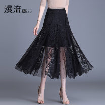 skirt Summer 2021 27/M 28/L 29/XL 30/2XL 31/3XL 32/4XL black longuette commute High waist A-line skirt Solid color Type A other Overflow Pleated and crocheted hollow mesh lace Korean version Pure e-commerce (online only)