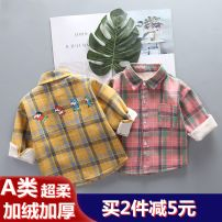 shirt Mother and baby neutral 80cm 90cm 100cm 110cm 120cm winter Long sleeves leisure time lattice cotton Lapel and pointed collar Cotton 95% other 5% Class A