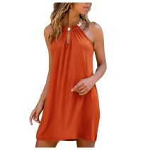 Dress street other Type A Summer of 2019 Middle-skirt singleton  Sleeveless Solid color Crew neck Loose waist routine 25-29 years old Condom 81% (inclusive) - 90% (inclusive) polyester fiber Other brocade Button, stitching, bow, tuck, lace up S,M,L,XL,2XL,3XL