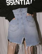 skirt Autumn 2020 XXS,XS,S,M,L,XL Blue in stock Short skirt commute High waist A-line skirt lattice Type A 81% (inclusive) - 90% (inclusive) other
