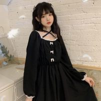 Dress Spring 2021 black S,M,L,XL Mid length dress singleton  Long sleeves Solid color Socket A-line skirt routine 18-24 years old Bowknot, stitching