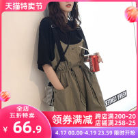 Women's large Summer 2021 Black suspender suit [summer women's fashion matching] yellow suspender suit [careful machine design sense minority] green suspender suit [pear shape figure wear] skirt Two piece set Sweet Self cultivation moderate Socket Short sleeve Solid color V-neck Medium length shorts