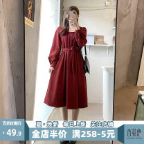 Women's large Spring 2021 Red JH S M L XL 2XL 3XL 4XL Dress singleton  Sweet Self cultivation moderate Socket Short sleeve Solid color V-neck Medium length puff sleeve 12-30C5361HS-XX Apricot blossom love 18-24 years old Lace stitching longuette Polyester 95% polyurethane elastic fiber (spandex) 5%