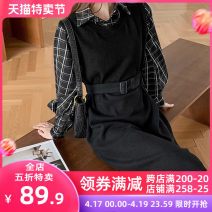 Women's large Spring 2021 Black JH S M L XL 2XL 3XL 4XL skirt Fake two pieces Sweet Self cultivation moderate Socket Short sleeve lattice V-neck Medium length puff sleeve 1-21CS0005-XX Apricot blossom love 18-24 years old Lace stitching longuette Cotton 65% polyester 35% Pure e-commerce (online only)