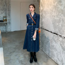 Dress Autumn 2020 Blue + belt S,M,L Mid length dress singleton  Long sleeves commute Polo collar High waist Solid color Single breasted routine 18-24 years old Type A Denim