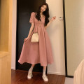Dress Spring 2021 Graph color S,M,L Mid length dress singleton  Short sleeve commute High waist Solid color Socket Big swing 18-24 years old Type A Korean version 09051#