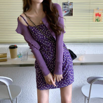 Dress Spring 2021 Purple cardigan, suspender skirt S,M,L Short skirt Two piece set commute A-line skirt camisole Type A Korean version 31% (inclusive) - 50% (inclusive) Chiffon other