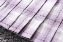 skirt Summer of 2019 S,M,L,XL Purple and white Short skirt Versatile High waist Pleated skirt lattice Type A