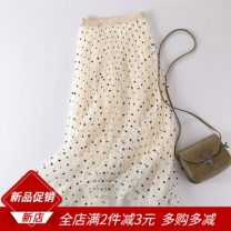 skirt Summer 2021 Average size Black, pink, apricot, white Mid length dress commute High waist A-line skirt Solid color Type A 25-29 years old More than 95% Lace polyester fiber Mesh, stitching lady