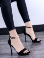 Sandals 34 35 36 37 38 39 Black apricot Other / other PU Barefoot Fine heel Super high heel (over 8cm) Summer of 2018 Flat buckle Europe and America PU