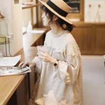 shirt linen  Average size hemp 96% and above Long sleeves Sweet Regular Lotus leaf collar solar system hemp