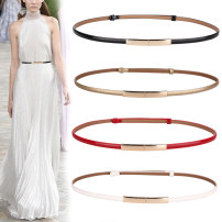 Belt / belt / chain Double skin leather female belt Versatile Single loop Middle aged youth a hook Glossy surface Patent leather 1cm alloy Light body thick line decoration candy color Spring / summer 2018 no