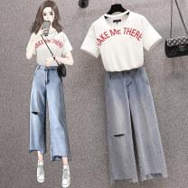 Women's large Summer 2021 872 top, 800 pants, 872 Top + 800 pants L (recommended 100-120 kg), XL (recommended 120-140 kg), 2XL (recommended 140-160 kg), 3XL (recommended 160-180 kg), 4XL (recommended 180-200 kg) trousers Two piece set commute easy moderate Socket Short sleeve stripe Korean version