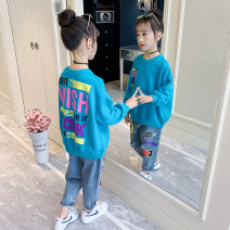 suit Song Flag Blue [regular factory standard positive code] Collection Plus purchase priority delivery 110cm 120cm 130cm 140cm 150cm 160cm female spring and autumn leisure time Long sleeve + pants 2 pieces routine There are models in the real shooting Socket nothing letter other children TZ504