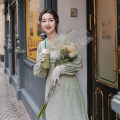 Dress Winter of 2019 Mint Green S,M,L Mid length dress singleton  Long sleeves commute Doll Collar High waist Solid color Single row two buttons A-line skirt puff sleeve Others Type A Retro Ruffles, buttons, zippers More than 95% polyester fiber