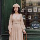 Dress Autumn of 2019 Beige [in stock] S,M,L Mid length dress singleton  Long sleeves Sweet stripe Single breasted bishop sleeve Others Button, lace More than 95% polyester fiber