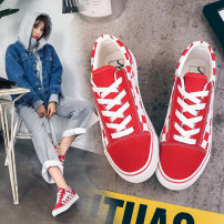 canvas shoe Shuke Low Gang White red black l-99 pink l-99 black l-99 Khaki l-98 black three hundred and fifty-three billion six hundred and thirty-seven million three hundred and eighty-three thousand nine hundred and forty Spring of 2018 Frenulum Korean version rubber Solid color L-100 One