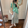 Women's large Korean version Summer 2021, autumn 2021 commute singleton  skirt Medium and long term Pu 66085 moderate Solid, plaid easy 18-24 years old Cotton, others Stereoscopic cutting tie-dyed 71% (inclusive) - 80% (inclusive) Contains (9 oz) - 11 oz Pear shape Green, black