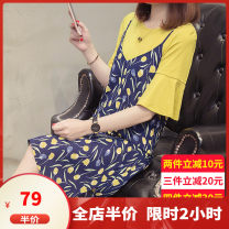 Women's large Summer 2020 8080 yellow [xl-5xl pre-sale 80 days] 8075 set 0867 set 8058 navy blue set M L XL 2XL 3XL 4XL 5XL Dress Two piece set Sweet easy moderate Socket Short sleeve Flower color Crew neck Medium length Three dimensional cutting routine CP8080 Dieliting 18-24 years old Medium length