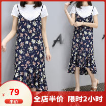 Women's large Summer 2020 White Navy M L XL 2XL 3XL 4XL 5XL Dress Two piece set Sweet easy moderate Socket Short sleeve Flower color Medium length printing and dyeing routine F03S8058 Dieliting 18-24 years old Three dimensional decoration Medium length Polyester 100% Pure e-commerce (online only)