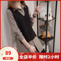 Women's large Spring 2020 grey M L XL 2XL 3XL 4XL 5XL sweater Fake two pieces commute easy moderate Socket Long sleeves Solid color Polo collar Medium length Three dimensional cutting routine F03S8925 Dieliting 18-24 years old Button Other polyester 95% 5% Pure e-commerce (online only)