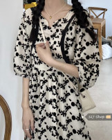 Dress Summer 2021 Picture color Average size Mid length dress singleton  Short sleeve commute other High waist Broken flowers Socket A-line skirt other Others Under 17 Type A Korean version other other