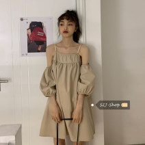 Dress Spring 2021 Camel Average size Short skirt three quarter sleeve Crew neck Solid color Socket A-line skirt puff sleeve 18-24 years old Type A Other / other Diamond inlay 30% and below other other