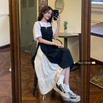 Dress Summer 2021 Black dress, white T-shirt Average size longuette Fake two pieces three quarter sleeve commute Crew neck Solid color Socket A-line skirt Others Under 17 Type A Other / other 30% and below other other