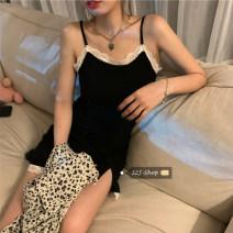 Dress Summer 2021 Sling piece, leopard shirt piece Average size Short skirt singleton  Sleeveless commute High waist Solid color Socket Irregular skirt camisole Under 17 Type A Retro Stitching, lace 30% and below other other