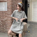 Dress Summer 2021 Gray, black Average size Short skirt singleton  Short sleeve commute Polo collar High waist Solid color Socket A-line skirt routine Others Under 17 Type A Korean version 30% and below other