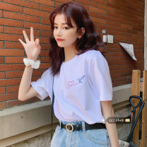 T-shirt White, black Average size Summer 2021 Short sleeve Crew neck easy Regular routine commute other 30% and below Under 17 Korean version youth printing