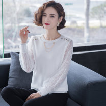 T-shirt White black M L XL XXL XXXL Spring 2021 Long sleeves Crew neck easy have cash less than that is registered in the accounts routine commute other 96% and above Korean version classic Solid color stitching Shang Rongfei SRF210307-21037 Stitching mesh lace thread Other 100%