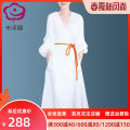 Dress Autumn of 2019 white S M L XL 2XL 3XL Mid length dress singleton  Nine point sleeve street V-neck High waist Solid color Socket Big swing bishop sleeve Others 30-34 years old Cavalli 51% (inclusive) - 70% (inclusive) Chiffon cotton Cotton 55% polyester 45% Pure e-commerce (online only)