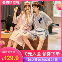 Pajamas / housewear set lovers Mihgfu / husband 20843 female + 20928 male (female needs s code to contact customer service remarks) 1 2 3 4 5 Iced silk Short sleeve Cartoon pajamas summer Thin money Small lapel Cartoon animation shorts double-breasted youth 2 pieces rubber string More than 95% silk