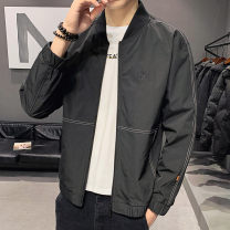 Jacket First tone Youth fashion Jk6601 black 4XL L XL 2XL 3XL routine Self cultivation Other leisure spring Polyester 100% Long sleeves Wear out Baseball collar tide routine Zipper placket Straight hem No iron treatment Closing sleeve Spring 2021 Zipper decoration Side seam pocket polyester fiber