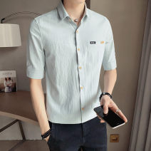shirt Youth fashion First tone M L XL 2XL 3XL 4XL Thin money Pointed collar (regular) Short sleeve Self cultivation Other leisure summer CS009-A5 Cotton 100% tide 2021 Summer 2021 No iron treatment cotton Button decoration Pure e-commerce (online only) More than 95%