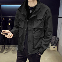 Jacket First tone Youth fashion 9909 black 9909 yellow 9909 Khaki 9909 blue M L XL 2XL 3XL 4XL routine Self cultivation Other leisure spring 9909-A4 Polyester 100% Long sleeves Wear out Lapel tide routine Oblique lapel No iron treatment Closing sleeve Spring 2021 Zipper decoration polyester fiber