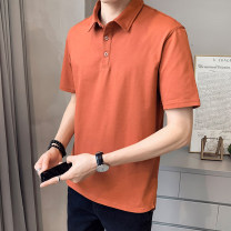 T-shirt Youth fashion 1225 orange 1225 blue 1225 brick red 1225 white 1225 black thin 4XL M L XL 2XL 3XL First tone Short sleeve Lapel easy motion summer 1225-2 Cotton 96.7% polyurethane elastic fiber (spandex) 3.3% routine tide Summer 2021 cotton No iron treatment Pure e-commerce (online only)